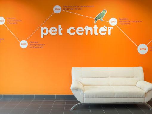 Infografika v interiérech centrály Pet center